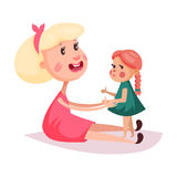 Child near mother or smiling woman in skirt Royalty Free Stock Photography