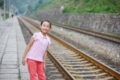 Child nearby the railway Stock Photos