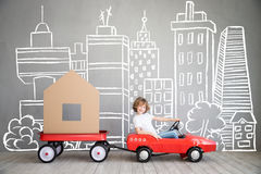 Child New Home Moving Day House Concept Stock Photography
