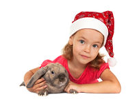 Child in the New Year hat with a rabbit. Royalty Free Stock Photos