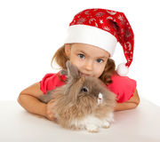 Child in the New Year hat with a rabbit. Royalty Free Stock Image
