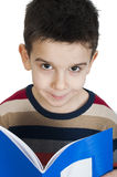 Child with notebook in front of the face royalty free stock photos