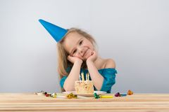 Child notes. birthday cake candles royalty free stock images