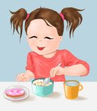Child and nutrition, cute little girl and meal time, eat , food, food, drink, child, healthy life stock illustration