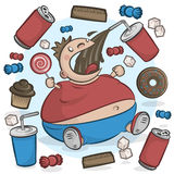 Child Obesity Graphic. Fat Kid Eating Sugary Treats. Stock Photos