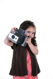 Child with old camera Royalty Free Stock Photo