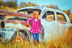 Child and Old car Royalty Free Stock Photo