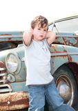 Child and old car Stock Photo