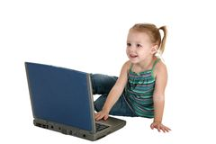 Child on Old Laptop with Clipping Path Royalty Free Stock Image