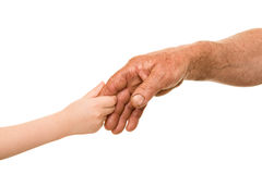Child and old man hand Royalty Free Stock Image
