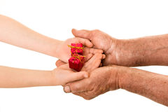 Child and old man hands Royalty Free Stock Photography