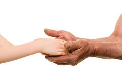 Child and old man hands Stock Image