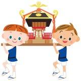 Child and omikoshi Royalty Free Stock Photos