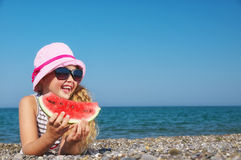 Free Child On The Sea With Watermelon Royalty Free Stock Photos - 29193228
