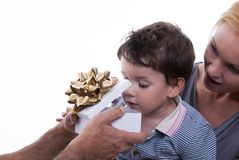 Child Opening Gift Box Stock Image