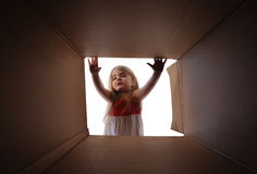 Child Opening Gift Present Box Royalty Free Stock Images
