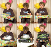Child Opening Present. Time lapse sequence compilation of six photo's of a boy (7) opening a present Royalty Free Stock Photos