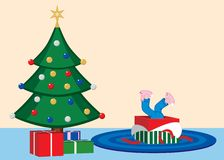 Child opens Christmas present. Illustration of impatient child diving into gift on Christmas Eve. EPS8 vector file also available Royalty Free Stock Photos