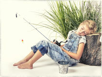 Free Child Or Young Girl With Her Dog Taking A Nap Or Sleeping While Royalty Free Stock Image - 58101496