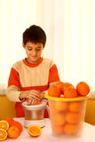 Child with orange Stock Photo