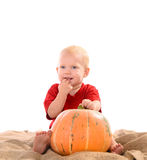Child with orange pumpkin Stock Images