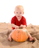 Child with orange pumpkin Royalty Free Stock Images