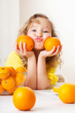 Child with oranges Royalty Free Stock Photography