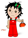 Child with Ornament. Broken holiday ornament being held by a guilty little child Royalty Free Stock Images
