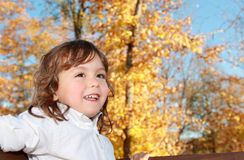 Child outdoor during fall Stock Images