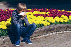 Child outdoor with tissue having allergy. Boy suffering from pollen allergy outdoors. Child with tissue sitting near flowers Royalty Free Stock Images