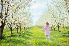 Child outdoors in the blossom trees. Art processing and retouchi Stock Photos
