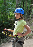 Child in the outfit for the rope course Royalty Free Stock Photos