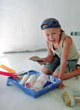 Child and paint brush Stock Photo