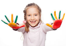 Child with painted palms Stock Photos