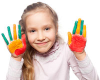 Child with painted palms Stock Image