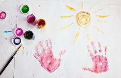 Child painting. Child fingerpainting in vivid colors royalty free illustration