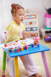 Child painting. In the kindergarten Stock Photo