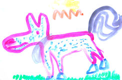 Child painting dog Stock Images