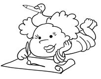 Child painting. A cute young girl is painting with a brush. Black and white vector image Stock Photos
