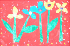 Child painting art. A colorful child painting artifact with flowers on red background stock illustration