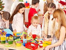 Child painting at art school. Royalty Free Stock Photography