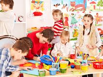 Child painting at art school. Royalty Free Stock Photo