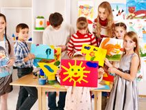 Child painting at art school. Stock Images