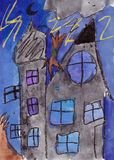 Child painting of a Castle in the Storm. Mixed media. Stock Image
