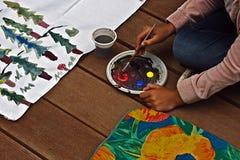 Child painting 1 Stock Photos