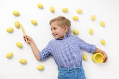 Child and Easter. Spring holidays concept. stock photo