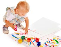 Child painting by finger paint. Stock Photos
