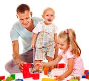 Child painting by finger paint. Happy family with child painting by finger paint Stock Photos