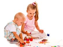 Child painting by finger paint Stock Photography