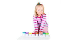Child painting with fingers Royalty Free Stock Photo